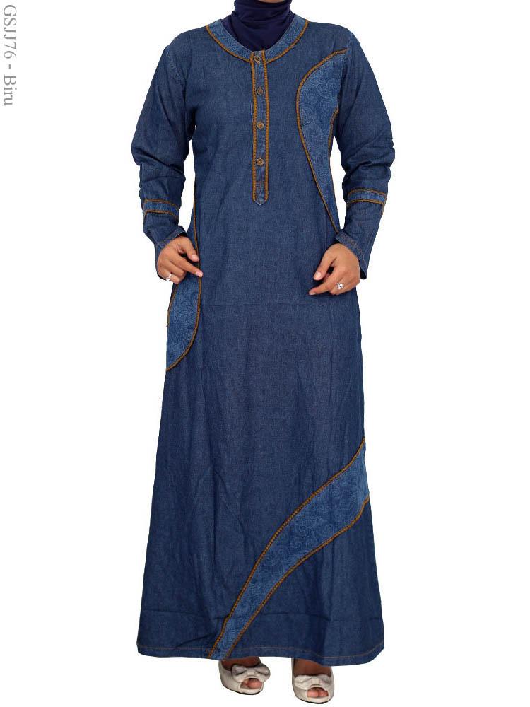 Gamis Jeans Jumbo Gsjj76 Busana Muslim Murah Terbaru