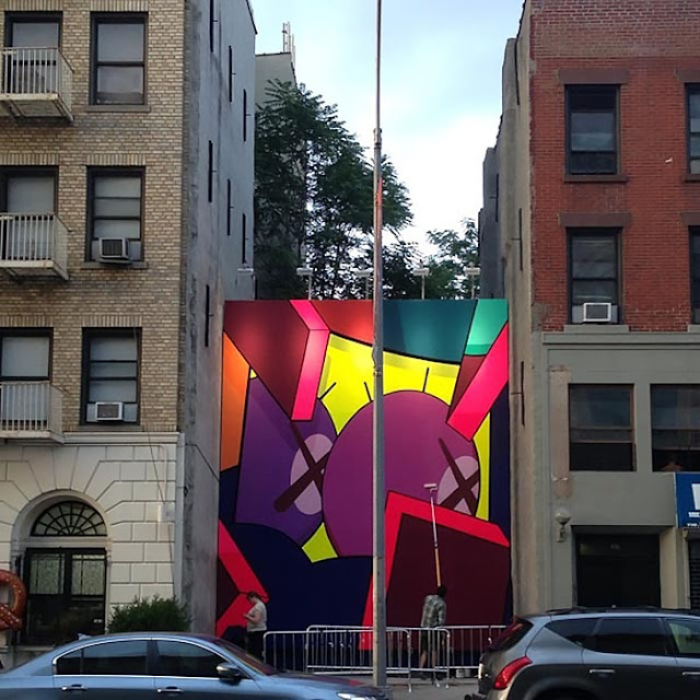 Street Art Mural By KAWS in Brooklyn, New York City. work in progress 2