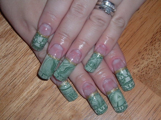 Nail art quality the beautiful money nail designs gold glitter border euro money nail designs prinsesfo Images