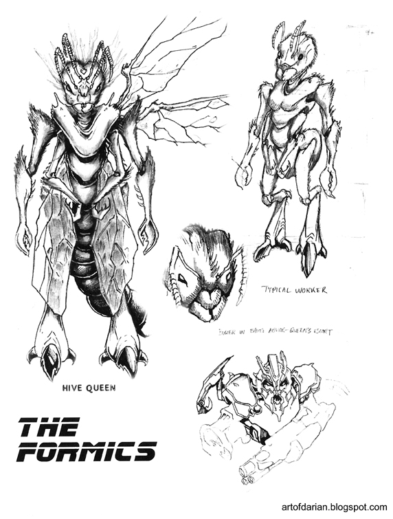 Concept Drawings of the Formics and Hive Queen from Ender's Game by Darian Robbins
