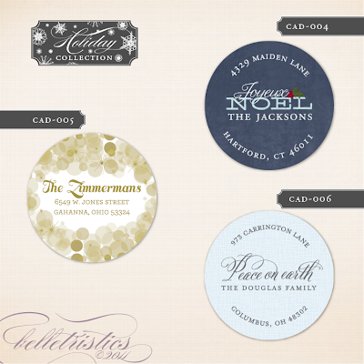 holiday christmas new year round circle return address label printable DIY