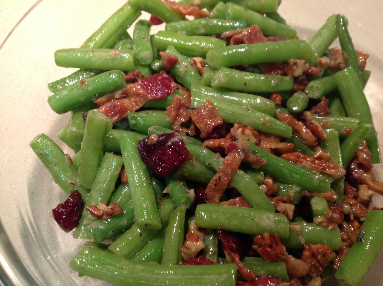 ... Out: Green Beans with Bacon, Blue Cheese, Pecans and Dried Cranberries