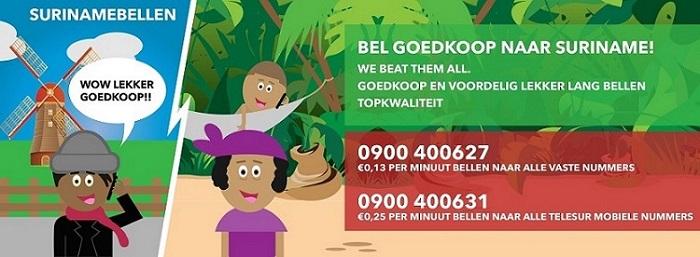 Bel goedkoop naar Suriname!