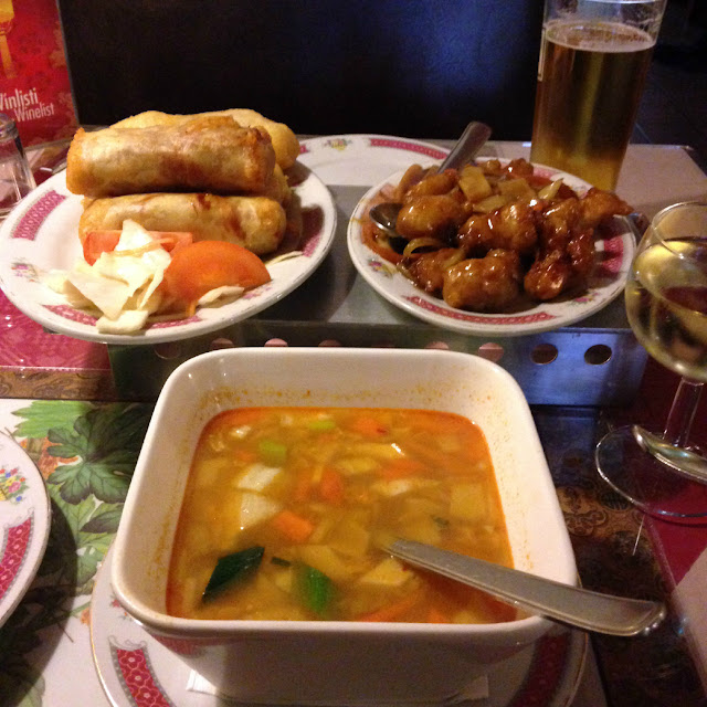 Ridiculously large appetisers from Veitingahúsið Asía in Reykjavik - spring rolls, tom yum soup and pork