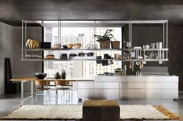 desain lemari dan rak dapur logam stainless steel