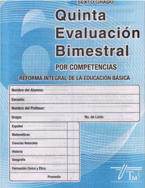 Examen Quinto Bimestre Editorial