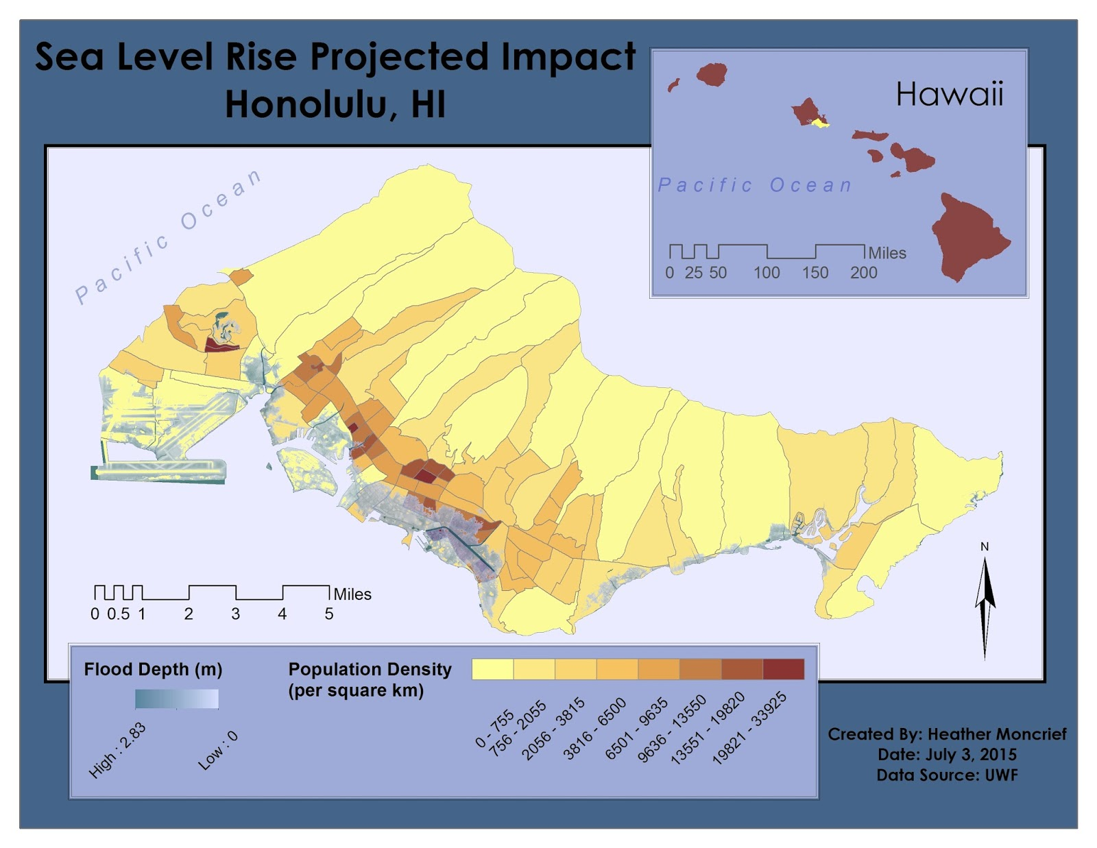 map of district of honolulu showing impact of 6 foot sea level rise and includes population densities of the region