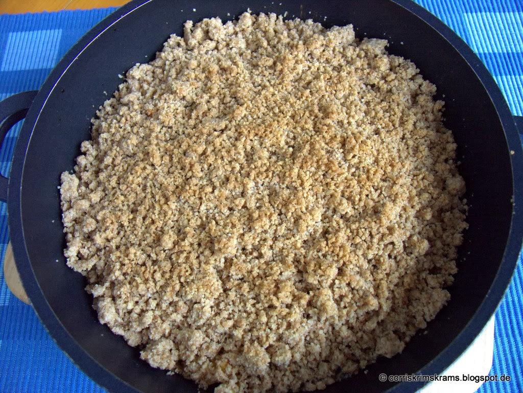 Streusel, Vollkornmehl, Äpfel, Kuchen, Auflauf, Rezept, Backen