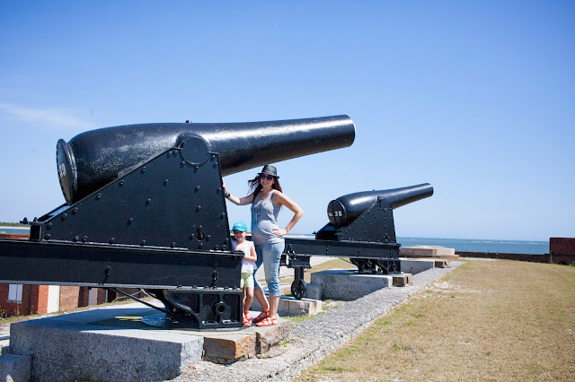Travel Blogger Amy West and daughter at Ft. Clinch in Fernandina