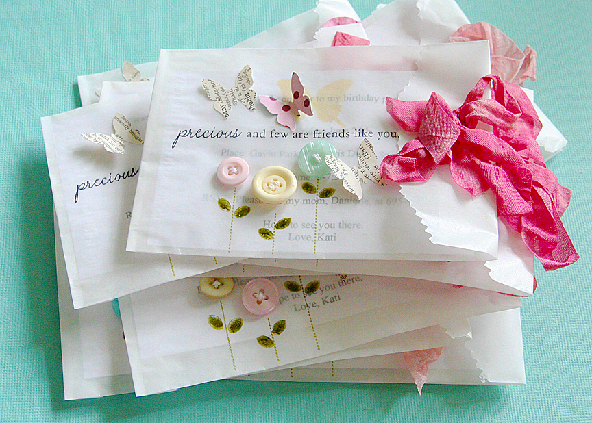 Homespun with Heart birthday invitations – Butterfly Birthday Party Invitations