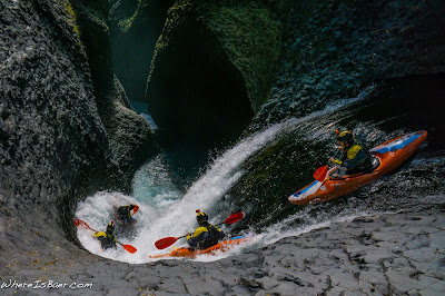 Aeon Russo kayak twirly bird caracol, garganta del diablo Chile rio claro, waterfall M.C. escher WhereIsBaer.com Chris Baer waterfall kayak basalt canyon slot