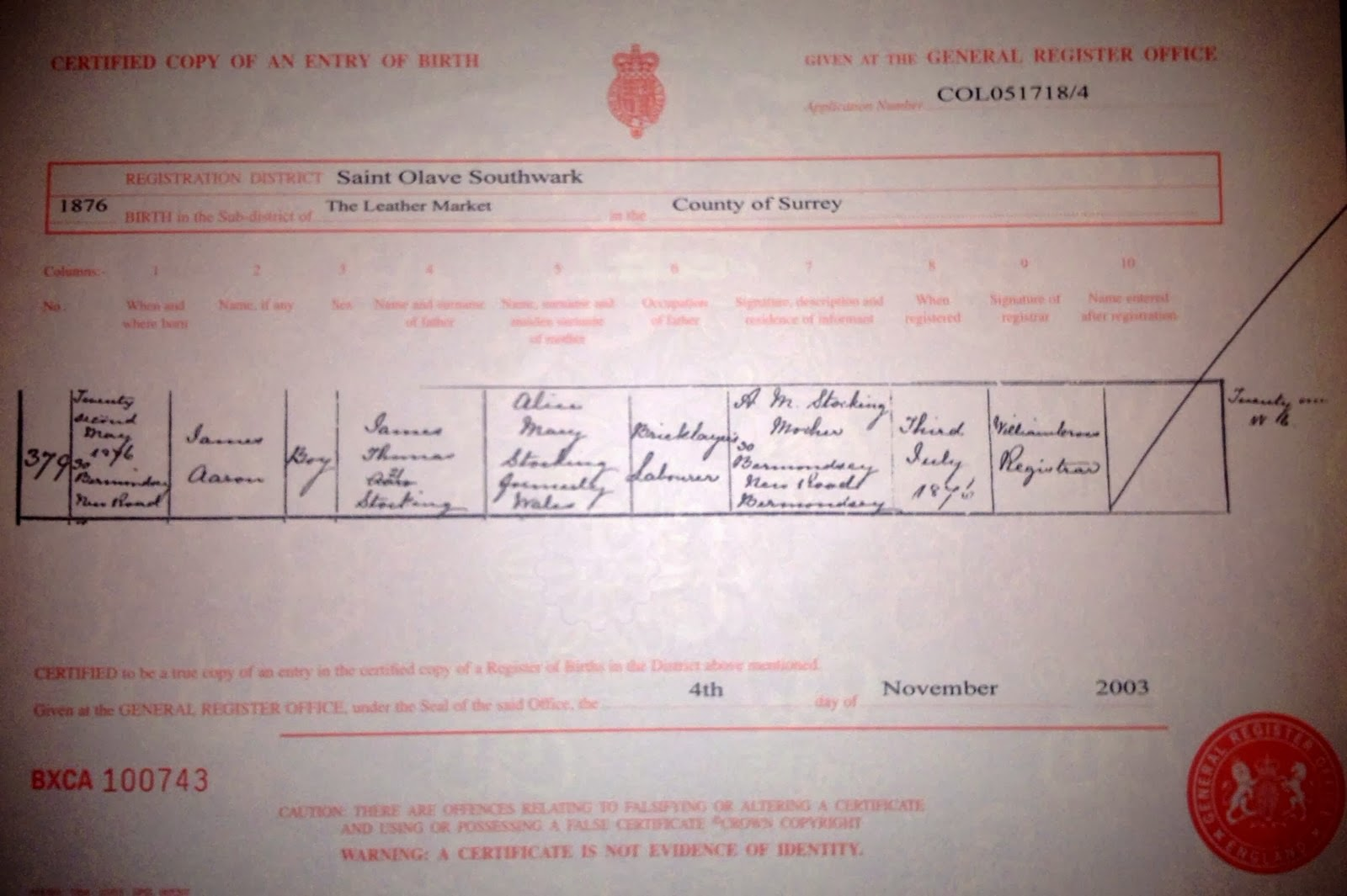 Myroots leslys family history 291213 james aaron stocking birth certificate 1876 aiddatafo Choice Image