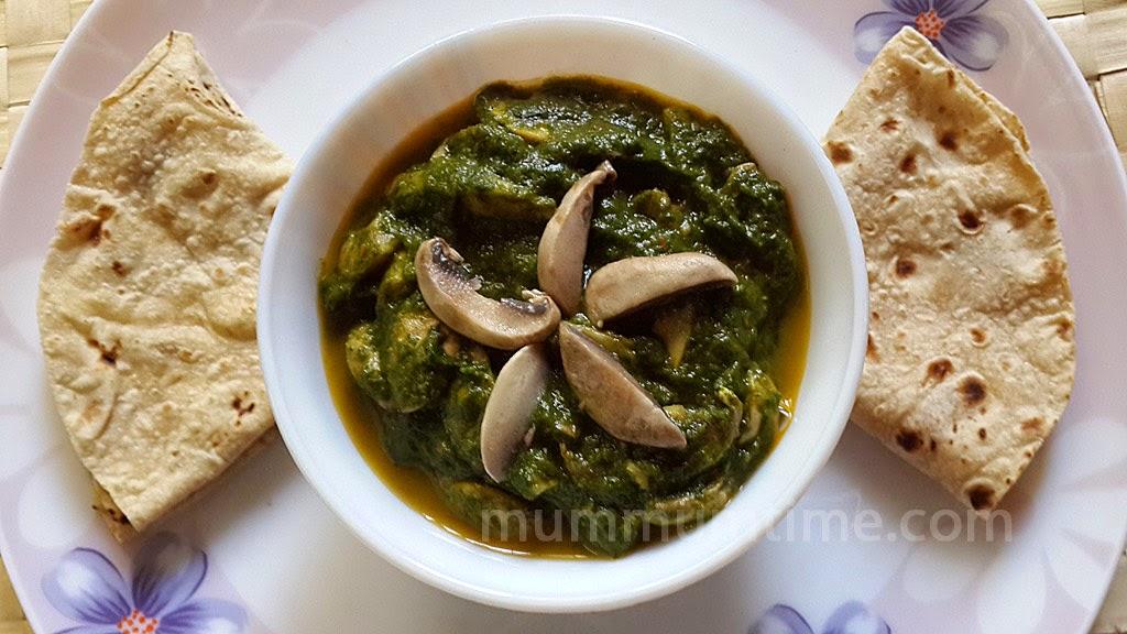 Spinach Mushroom Sabzi