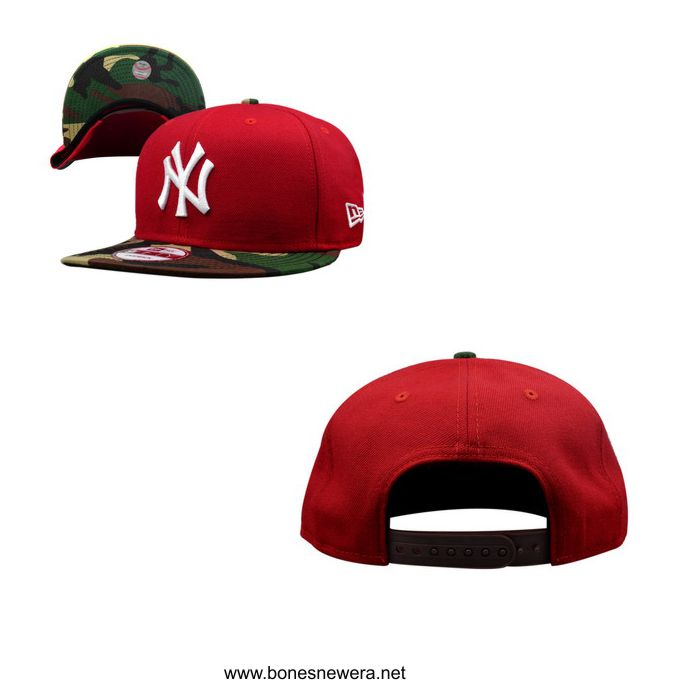 Boné New Era NY Yankees Vermelho, Camuflado Snapback