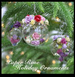 Pretty Paper Rose Ornaments for the Holidays