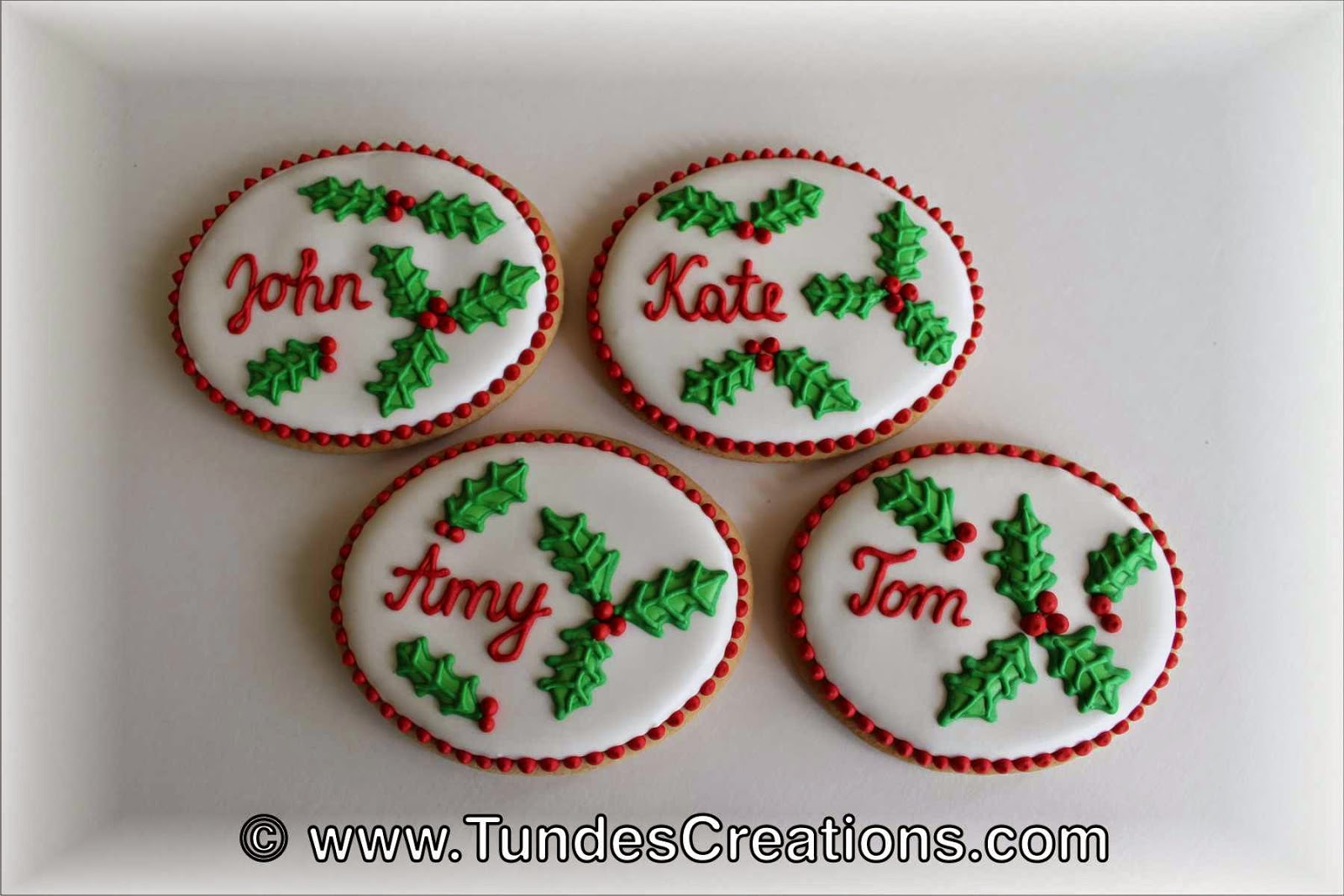 Gingerbread Christmas place card with Holy pattern
