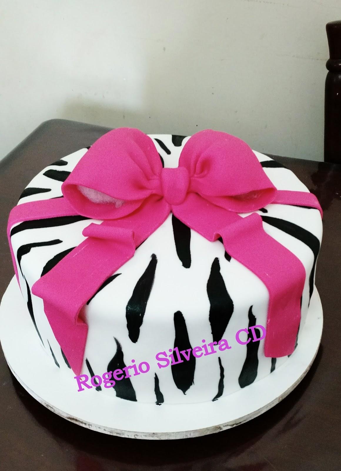 Conhecido Rogerio Cake Designer: Bolo Zebra Laço Rosa KH84