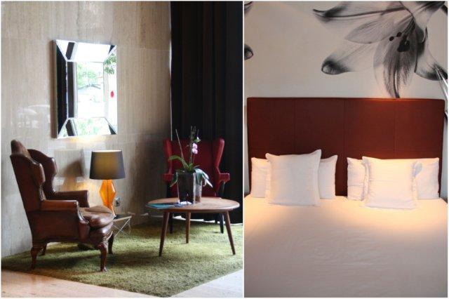 Sofas en recepcion y cama en el Hotel Ur Palacio Avenida en Palma de Mallorca