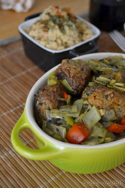Oasis vegetal alb ndigas veganas en salsa de puerro y - Acompanamiento para albondigas ...