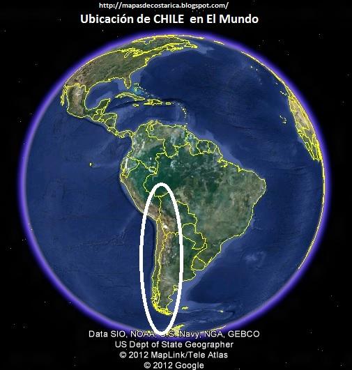 Ubicación de CHILE en El Mundo, Google Earth