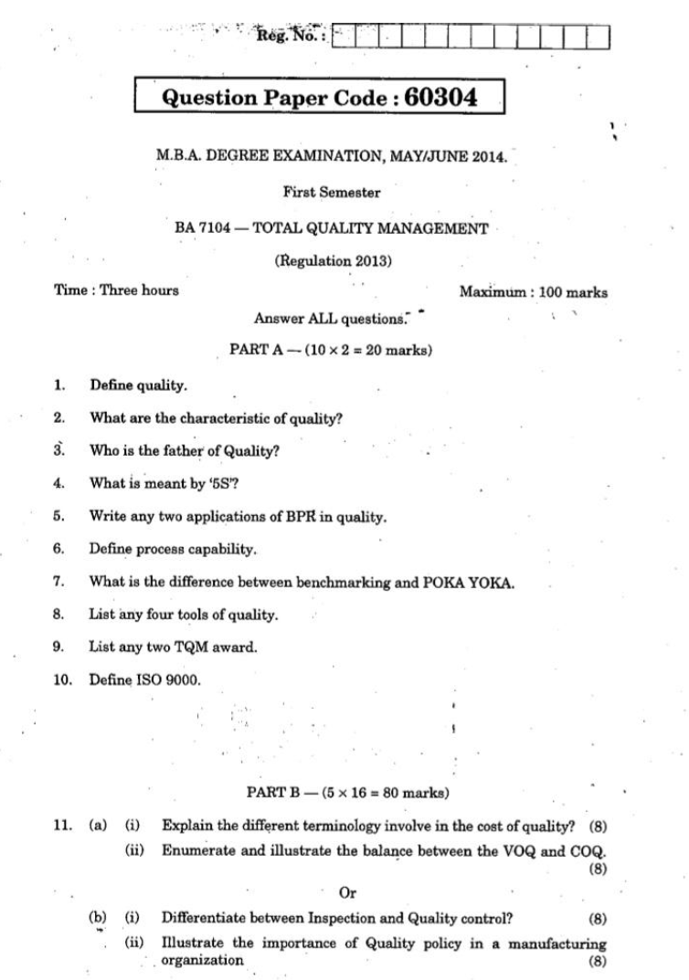 total quality management question papers vtu Ge6757 tqm question papers, total quality management previous sem it tqm question papers with answers ge6757 total quality management previous year question.