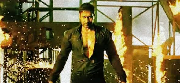 Angry look of Ajay Devgn in an action scene of fire blasts in Bollywood movie Action Jackson