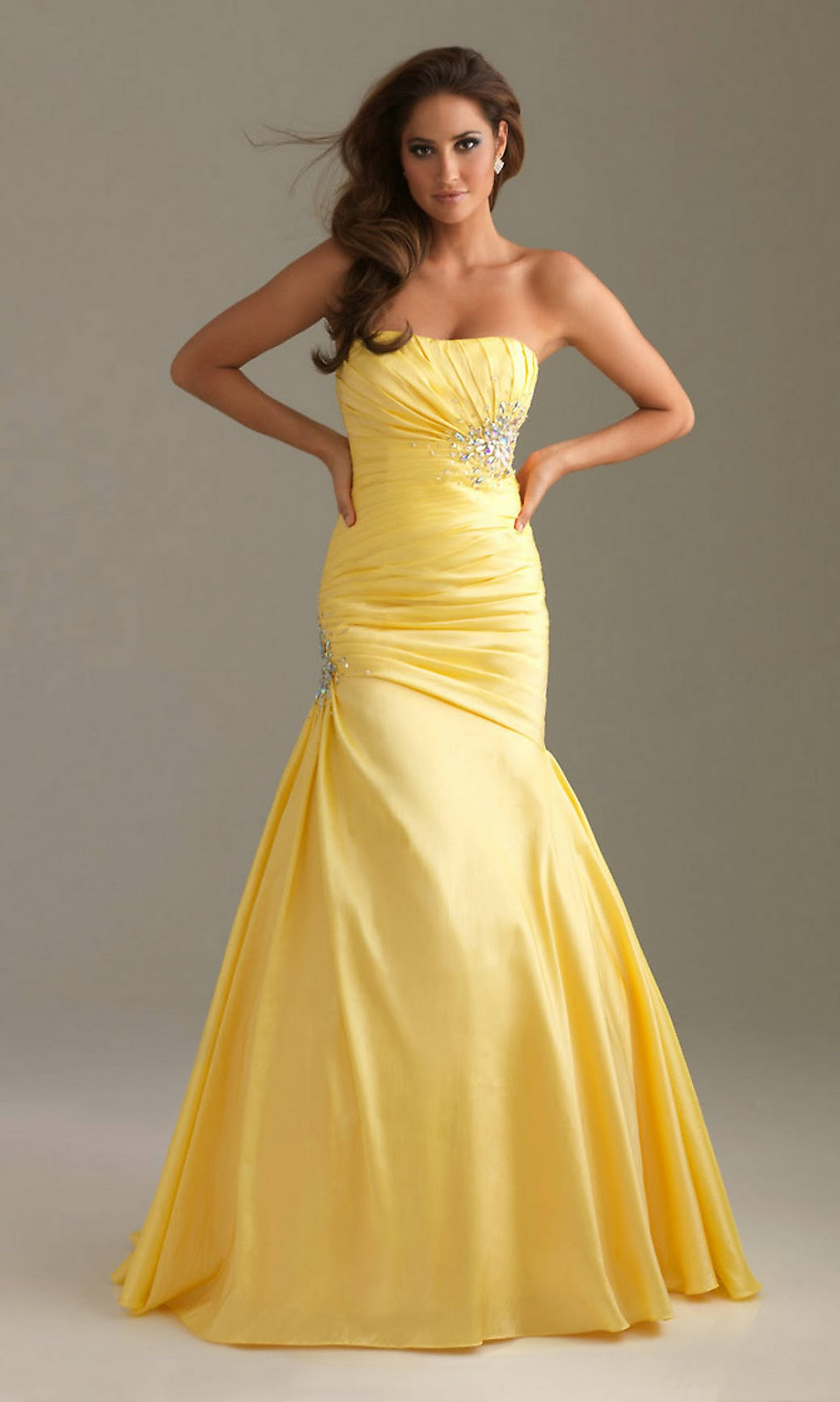 Yellow Mermaid Prom Dresses 90