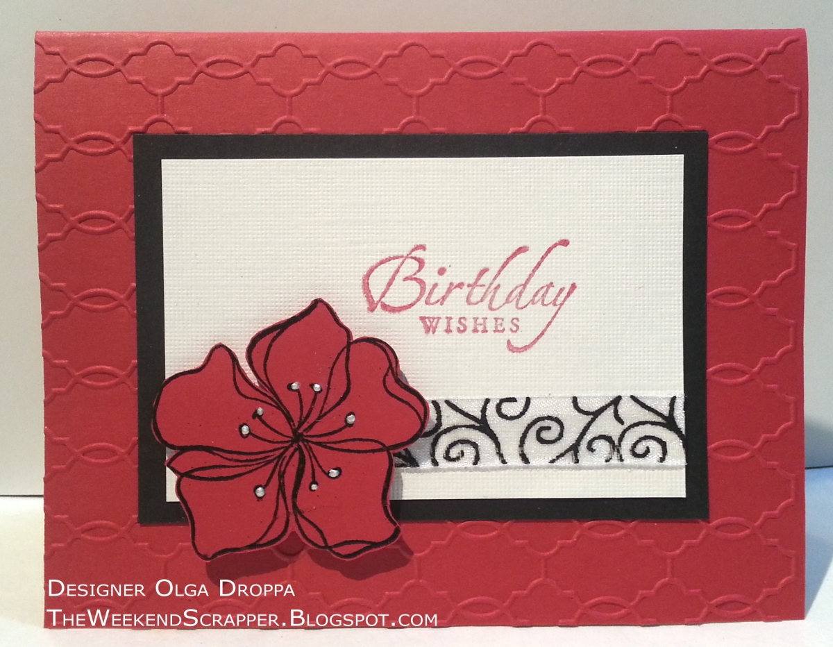 Handmade Card With Dry Embossed Background Using Modern Wallpaper Folder And StampinUp Stamps
