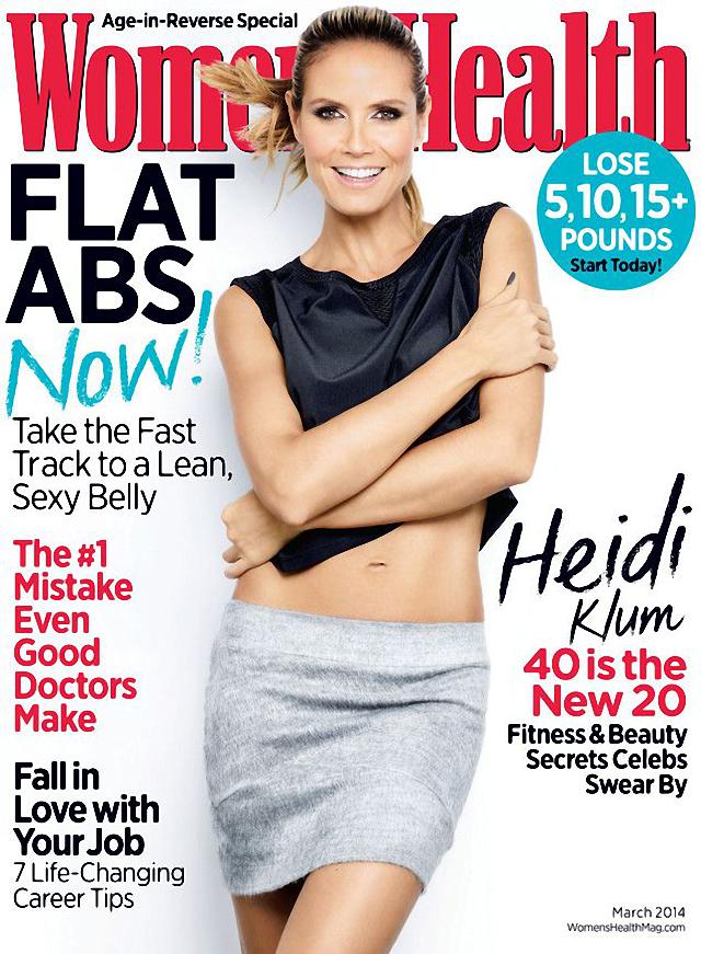 Heidi Klum en portada de Women's Health Magazine marzo 2014
