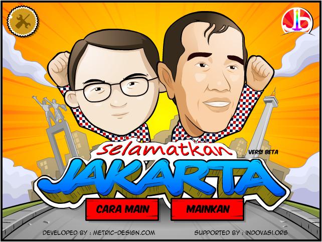 """Capture d'écran du jeu """"Selamatkan Jakarta"""" (Sauvons Jakarta), mis au point par l'équipe de campagne de Jokowi (à droite) et Ahok (à gauche)."""