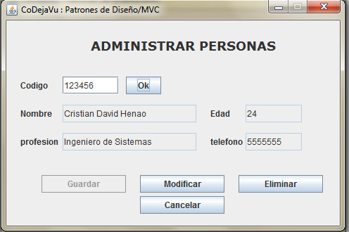 CoDejaVu: Ejemplo Modelo Vista Controlador
