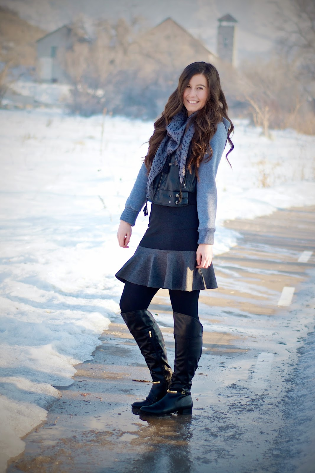 black and grey jacket, black and grey outfit, grunge outfit, kensie scarf, leather jacket, marc fisher boots, over the knee boots, persun mall, persun mall skirt, script scarf, tillys jacket,