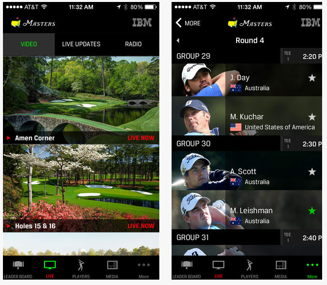 Aplikasi iPhone Terbaik 2015 - The Master Golf Tournament