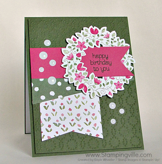 Feminine Birthday Card with Circle of Spring stamp set by Stampin' Up!