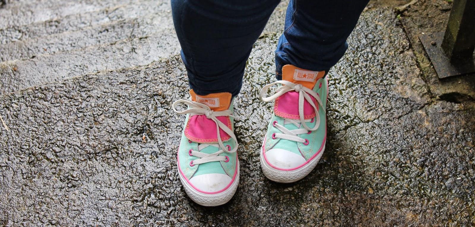 Mint green pink & orange flip over tongue converse