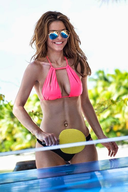 It seemed the cheerfulness would not going to end as Maria Menounos playing a table tennis. But why ? she ended her beauty garment so perfectly in a great sentences of physique by wrapping her magnificent body in a Pink bikini.