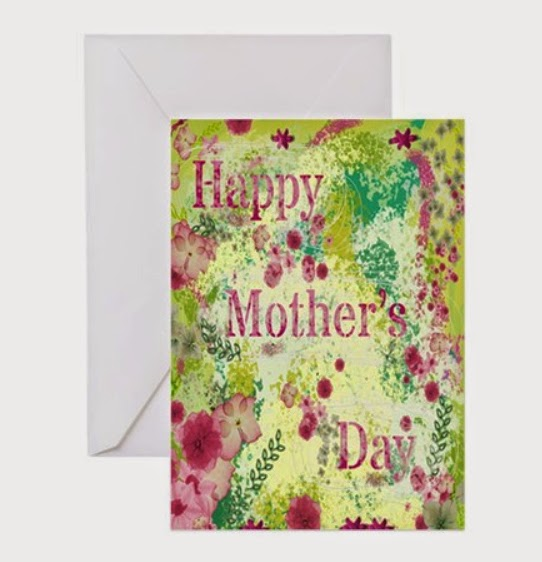 Mixed-media effect Mother's day card in spring green and pink