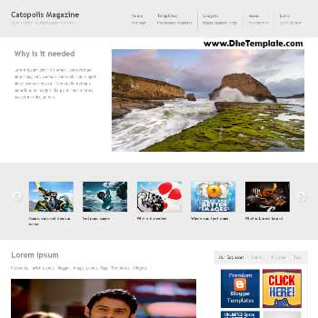 Catopolis Magazine blogger template. blogger template adapted from wordpress theme. blogger template with featured image slider. blogger template magazine style