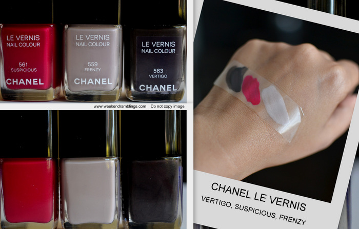 Les Essentiels de Chanel Makeup Collection Fall 2012 Beauty Blog Swatches Nail Polish Frenzy Suspicious Vertigo