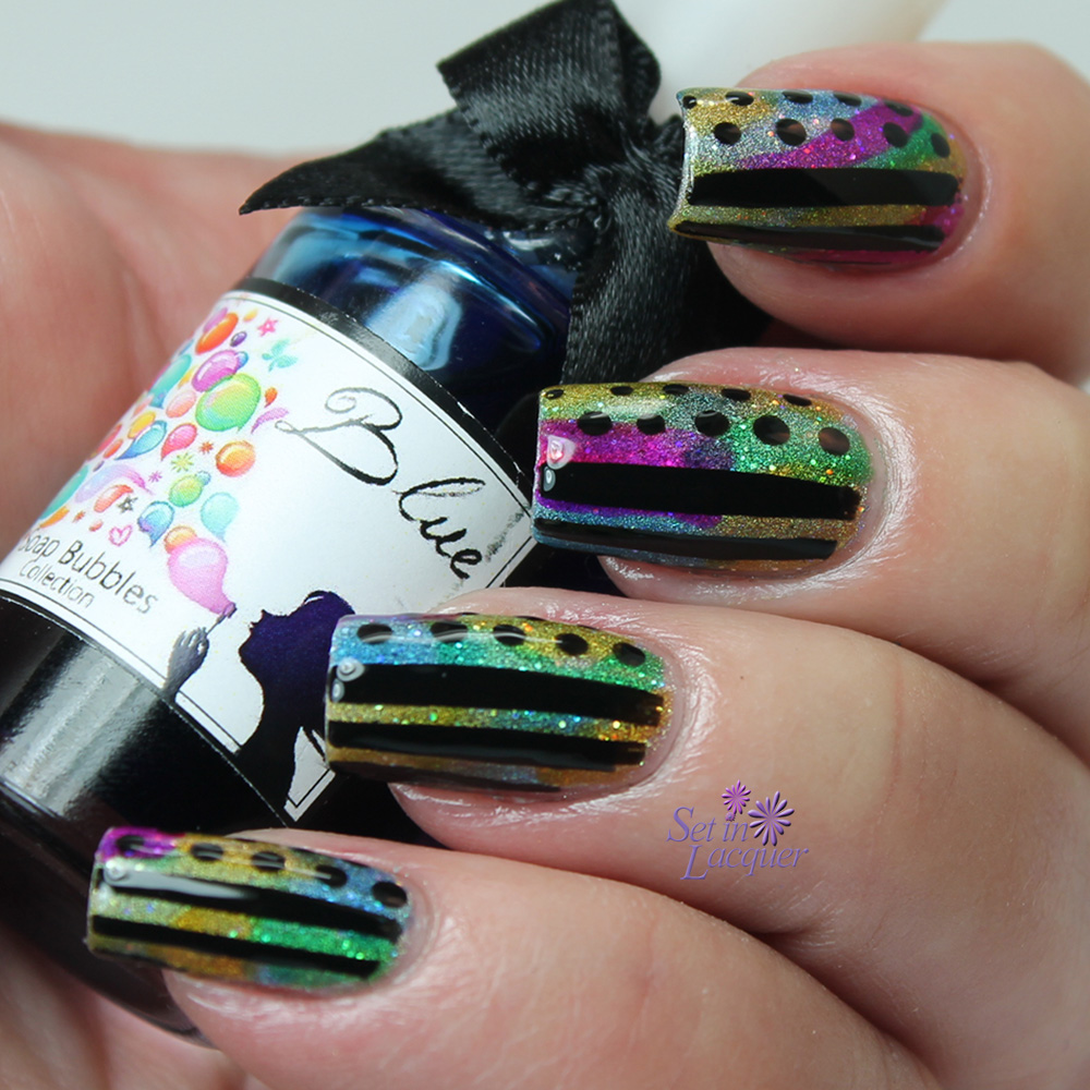 Tinted nail art using Esmaltes Da Kelly Soap Bubbles Collection