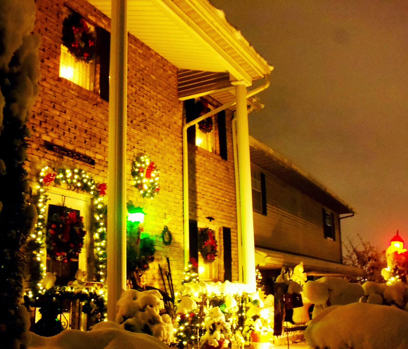 All Lit Up at Night and SNOW!!,  Christmas Home Tour, Part 2