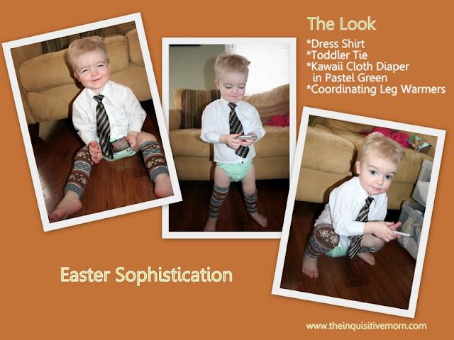 Easter Sophistication - Shirt,Tie, Kawaii Cloth Diaper, & Leg Warmers