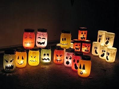 D co fait main recycler des pots pour cr er des lanternes - Deco fait maison pour halloween ...