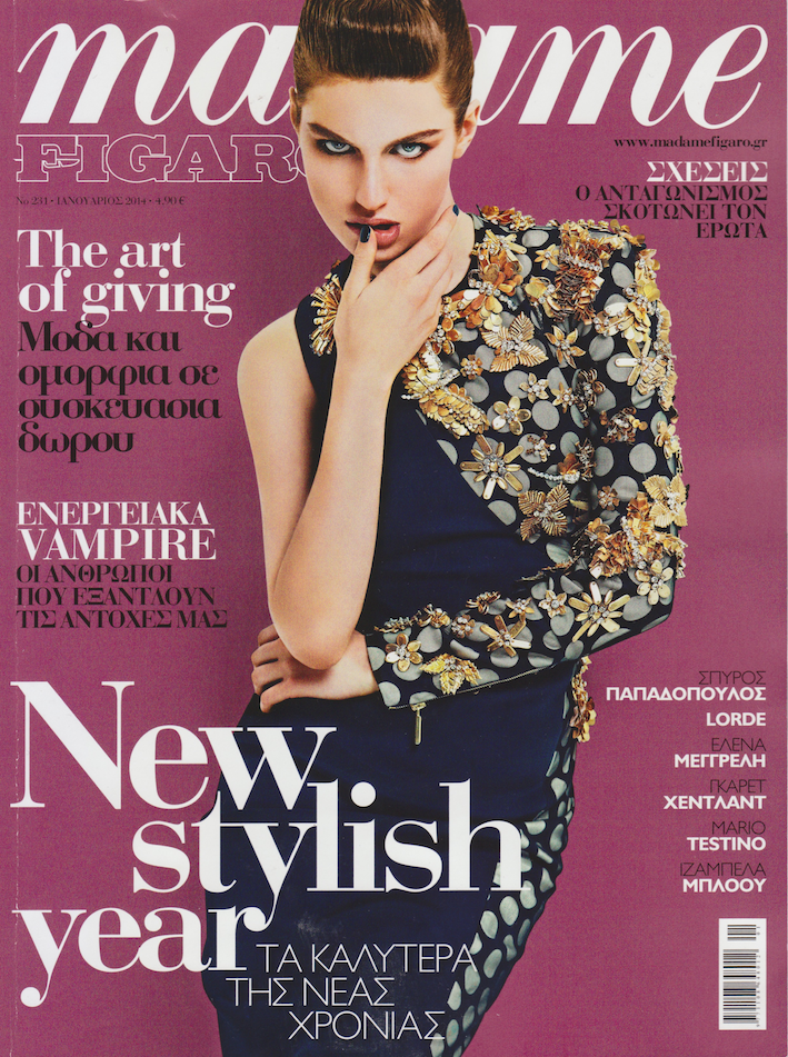 Magazine Cover : Taly Lennox Magazine Photoshoot Pics on Andoni & Arantxa Madame Figaro Magazine Greece January