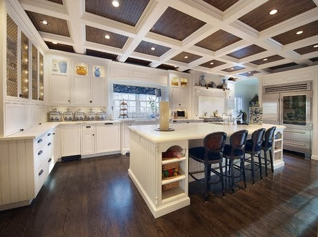 beamed ceiling cofferd design for interior kitchen
