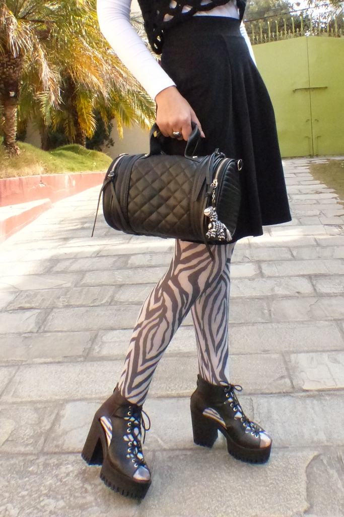 Zebra print tights, chunky shoes, Steve Madden bag