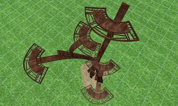 escultura metalica para un jardin de lujo, detalles de diseño 2