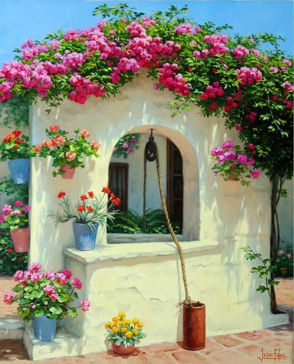 Cuadros modernos pinturas y dibujos paisajes de patios for Decoracion y paisaje s a