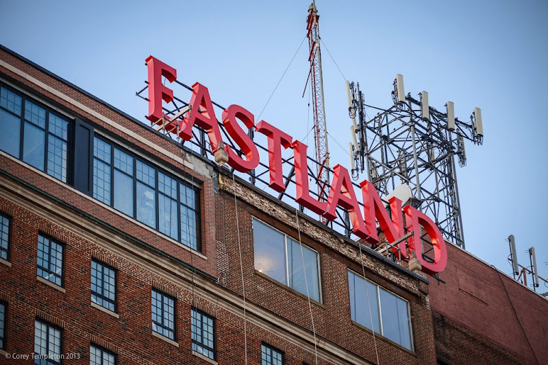 Westin Eastland Hotel sign in Congress Square. Portland, Maine. Photo by Corey Templeton.