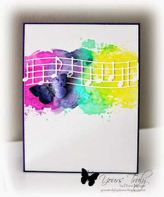 Diana Nguyen, CAS, card, memory box, music, hero arts, butterfly, watercolor